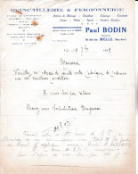 LETTRE  De La Quincaillerie & Ferronnerie  Paul  BODIN,  Rue Saint-Jean  à MELLE  (79) - Ambachten