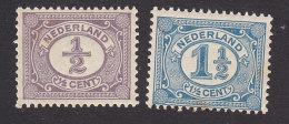Netherlands, Scott #55, 58, Mint Hinged, Number, Issued 1898 - Period 1891-1948 (Wilhelmina)