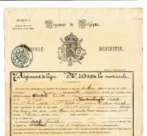 TB Document MILITAIRE 1871- Congé Définitif Soldat Andelé De SINT ANTELINCK , Du 7è Régiment De Ligne à DIEST  --  WW768 - Postmark Collection