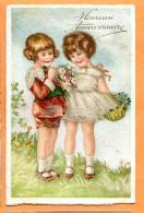 FAP-24  Heureux Anniversaire, Couple D'enfants Et Bouquet De Fleurs. Circulé Sous Enveloppe En 1931 - Naissance