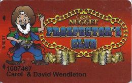 Carson Nugget Casino Carson City, NV Slot Card - 1st Issue Maroon Slot Card - Casino Cards