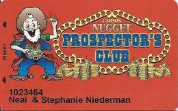 Carson Nugget Casino Carson City, NV Slot Card - Large Miner, ACC Over Mag Stripe - Casino Cards