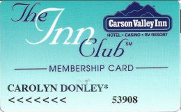 Carson Valley Casino - Carson City, NV - 4th Issue Slot Card - 3rd Line Starts 'the Pit' - Casino Cards