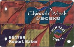 Chinook Winds Casino Lincoln City, OR - Slot Card - Reverse Logo Bottom Right Corner - Casino Cards