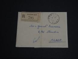FRANCE / ALGÉRIE - Lettre En Recommandée De Tlemcem Pour Alger En 1952 , Affranchissement Au Verso - A Voir- L 273 - Covers & Documents