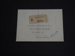 FRANCE / ALGÉRIE - Lettre En Recommandée De Tlemcem Pour Alger En 1952 , Affranchissement Au Verso - A Voir- L 274 - Covers & Documents