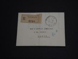FRANCE / ALGÉRIE - Lettre En Recommandée De Tlemcem Pour Alger En 1951 , Affranchissement Au Verso - A Voir- L 275 - Covers & Documents