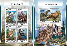 DJIBOUTI 2016 ** Raptors Birds Of Prey Greifvögel M/S+S/S - OFFICIAL ISSUE - A1621 - Arends & Roofvogels