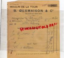87 - MAGNAC BOURG - FACTURE MOULIN DE LA TOUR - B. DESMAISON - MINOTERIE-1930 - 1900 – 1949