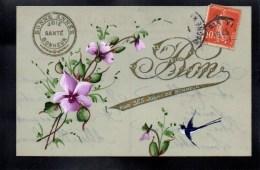 CPA CELLULOID - DORURE - OR - Peinte à La Main - Bon Pour 365 Jours De Bonheur - Hirondelles - Fleurs Mauves - #5 - New Year