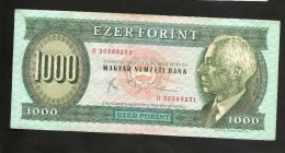 UNGHERIA / HUNGARY / MAGIAR  - NATIONAL BANK - 1000 FORINT (Budapest - 1983) - Ungheria