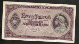 UNGHERIA / HUNGARY / MAGYAR - NATIONAL BANK - 100 PENGO (1945) - WWII - Ungheria