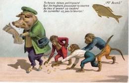 CPA Cochon Humanisé Qui Perd L'argent De Sa Bourse Et Singes Vers 1910 Bon état - Geklede Dieren