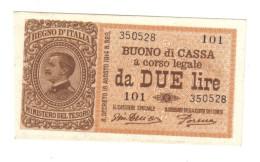 2 Lire Buono Di Cassa Serie 101 14 03 1920 Fds  LOTTO 1342 - [ 1] …-1946 : Koninkrijk