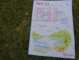 Torchon Calendrier 2003  -francoise Saget -lac Banc-. Vintage - Publicité