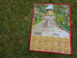 Torchon Calendrier 1990- Maison Oie -roy A La Rochefoucauld-. Vintage - Publicité