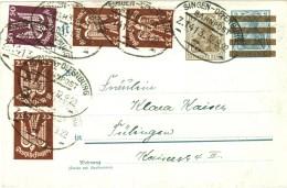 Dt. Reich 210 + 212 MiF (Holztaube) Portogenau Auf Postkarte 1922 + Bahnpost Singen - Offenburg - Germania