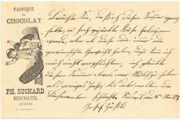 ALIM-L18 - SUISSE Entier Postal Carte Illustrée Chocolat Suchard Neuchatel 1887 - Ganzsachen