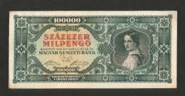 UNGHERIA / HUNGARY / MAGIAR  - NATIONAL BANK - 100000 PENGO (Budapest - 1946) - Ungheria