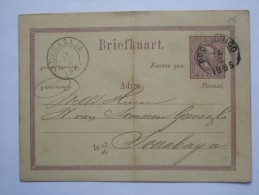 NETHERLANDS INDIES 1885 STATIONARY CARD FROM PROBOLINGGO TO SOBERABAJA SURABAYA - Indie Olandesi