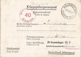 _5pk-137: Kriegsgefangenpost: Rückantwordtbrief Verstuurd Uit: HOUFFALIZE 31-1-42... Om Verder Uit Te Zoeken... - WW II