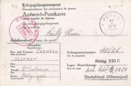 _5pk-133: Kriegsgefangenpost: Antwort=Postbkarte:  Verstuurd Uit: *PIETRAIN 27 I  1942: Sterstempel... - WW II
