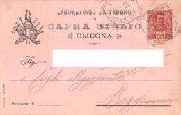 """05800 """"OMEGNA (VB) - CAPRA GIUSTO - LABORATORIO DA FABBRO """" CART. COMM. INTEST., SPEDITA 1901 - Commercio"""