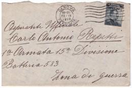 STORIA POSTALE - ITALIA - ANNO 1916 - PER L'ASPIRANTE UFFICIALE ANTONIO REPETTI - GENOVA - PER ZONA DI GUERRA - - 1900-44 Vittorio Emanuele III
