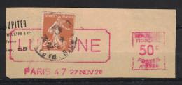 1928 FRAGMENT MIXTE SEMEUSE Avec AFFRANCHISSEMENT MECANIQUE Type EMA ROUGE En COMPLEMENT 25c + 50c LUCHINE ? - 1906-38 Semeuse Camée