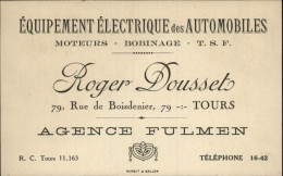 37 - TOURS - Carte De Visite Agence Fulmen - équipement électrique Des Automobiles - Cartoncini Da Visita