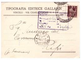 STORIA POSTALE - ITALIA - ANNO 1947 - TIPOGRAFIA EDITRICE GALLARDI - AL SINDACO DEL COMUNE DI RIPI - CONCORSI ENTI PUBBL - 1900-44 Vittorio Emanuele III