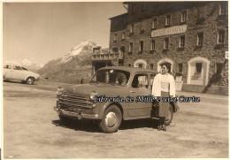 FOTOGRAFIA ORIGINALE _ PASSO DEL BERNINA _ Agosto 1954 _ OSPIZIO BERNINA _ AUTO D'EPOCA _ Svizzera _ Alpi - Automobili