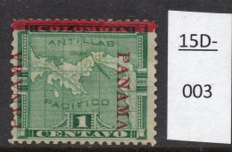 Panama 1904 1c Map (with Railway Line) : Apparent Inverted V For A – See Text. MH