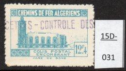 Algeria Yv. CP 159 Railway Station / Gare De Bone : 12F4 En Bleu-vert (greenish-blue)  MH - Parcel Post