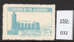 Algeria Yv. CP 159 Railway Station / Gare De Bone : 12F4 En Bleu-vert (greenish-blue)  MH