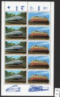 Korea (N) 1987 Railways / Trains SG N2691/92 In Sheetlet/5 MNH - Trains