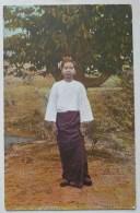 Veritable Photo Couleur Typical Burmese Girl Fille Birmane Birmanie Vetement Folklore Ecrite Voyagé Sous Enveloppe - Cartes Postales