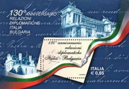 ITALIA REPUBBLICA 2009 - Relazioni Diplomatiche Italia-Bulgaria.  Foglietto ** -  UNIF. N. BF51 - Blocchi & Foglietti