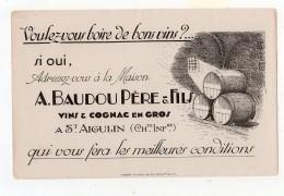 Juin16   75412   Buvard  Vin  Cognac    Baudou Père & Fils   St Aigulin  Charente Inf - Liqueur & Bière