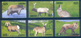 LIBERIA   2001   Yvert 3289/3294 .  Dear, Fox, Sheep, Rabbit, Wapiti, Bear   Ours, Cerf, Renard, Mouton, Lapin - Konijnen