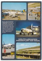Frankfurt Am Main Germany International Airport, Jets On Tarmac, Terminal Luftansa Airplanes C1980s Vintage Postcard - Aerodromi