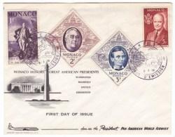 Monaco Sc#354-357, US Presidents Washington Roosevelt Lincoln Eisenhower FDC Pan Am Airlines 1956 Cover - Cartas