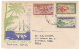 Tokelau Islands #1-3 Illustrated Cover To Seattle Washington State First Day Of Issue 22 June 1948 - Tokelau