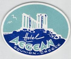 """05814 """"GRECIA - SOUNION - HOTEL AEGEAN"""" ETICHETTA ORIGINALE - Adesivi Di Alberghi"""