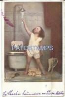 52085 ART ARTE SIGNED OSTERMANN GIRL IN THE SHOWER BATH SPOTTED POSTAL POSTCARD - Sonstige