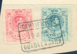 1915 , GUADALAJARA , ED. 275 , 276 , SOBRE FRAGMENTO , MATASELLOS DE CERTIFICADO - Usati
