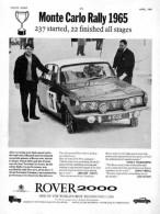 Rover 2000 Monte Carlo Rally  Advert 1965 - Cars