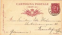 Postkarte Fil. C 12 Von Roma Nach Frankfurt (m067) - 1878-00 Umberto I