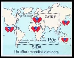 Aids, Hiv Awareness, Disease, Medicine, Zaire 1989 MNH SS - Krankheiten