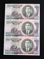 KOREA 5000 WON , COMPLETE SHEET (UNCUT NOTE) , 3-PIECE NOTE UNC BANKNOTE CURRENCY - Corée Du Nord